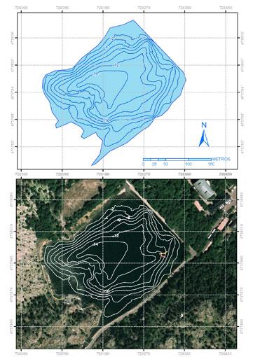 Plano batimétrico simplificado del ibón de Baños.
