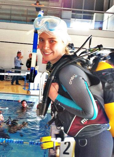Ivanova, antes de realizar el Relevo  2 x 100 m masulinos donde acabo 1ª de su serie.