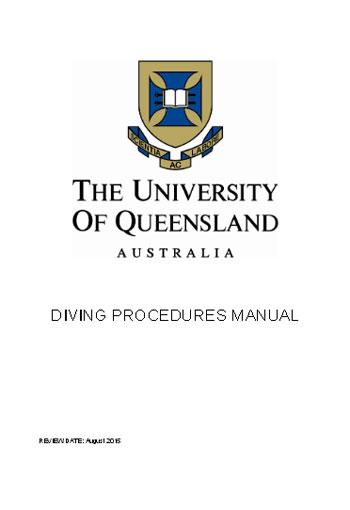 Portada del manual de buceo de la Universidad de Queensland
