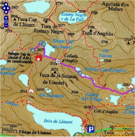 mapa ruta Cap de Llauset